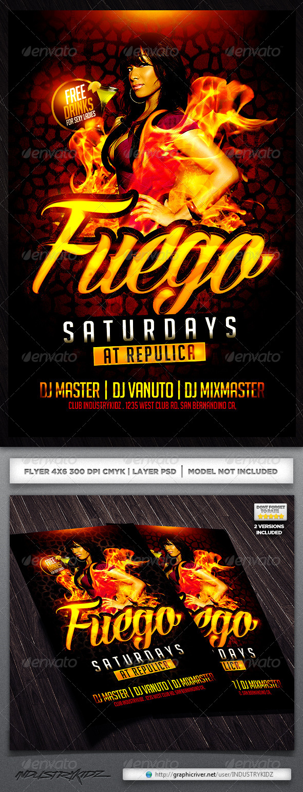 Fuego Saturdays Flyer Template - Clubs & Parties Events