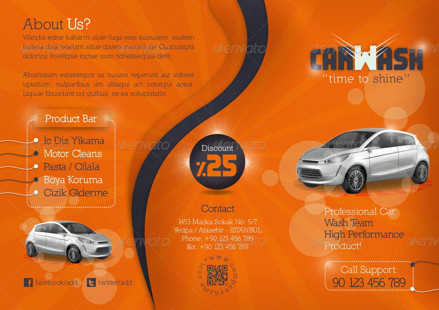 Car wash tri fold template by grafilker graphicriver for Car brochure template