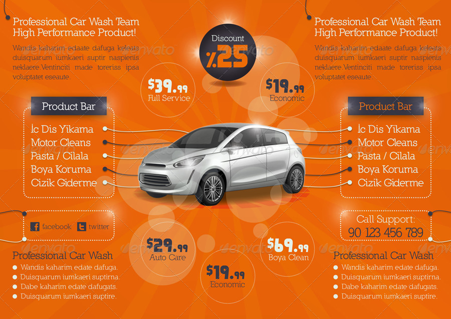 Car Wash Tri-Fold Template by grafilker | GraphicRiver