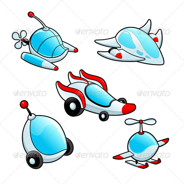 Funny Spaceships - Objects Vectors