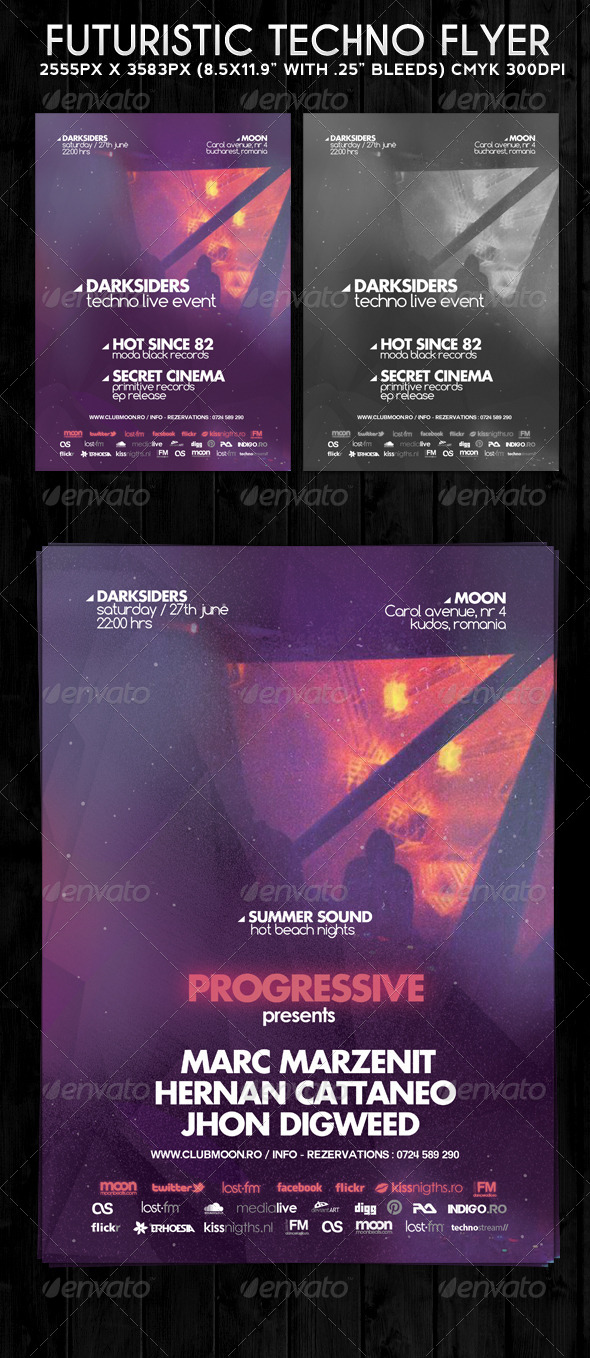 Futuristic Techno Flyer - Clubs & Parties Events
