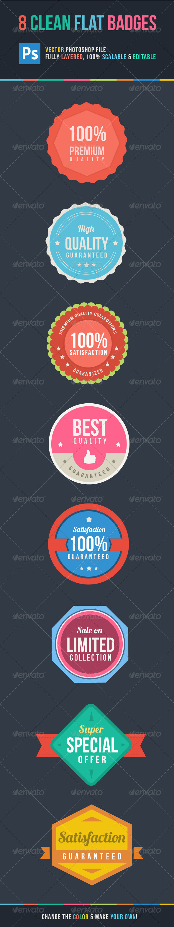 8 Clean Flat Badges - Badges & Stickers Web Elements
