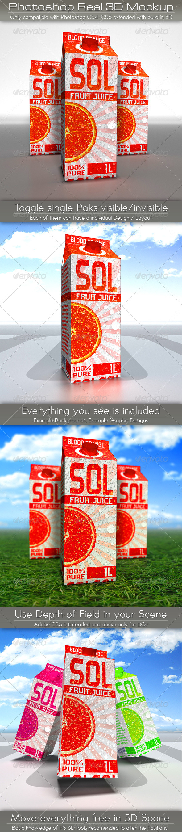 Large Juice or Milk Carton Pack Mockup | 3D Photoshop - Food and Drink Packaging