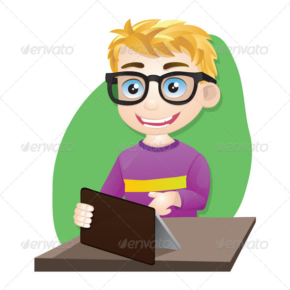 Smart Boy Playing Tablet - People Characters