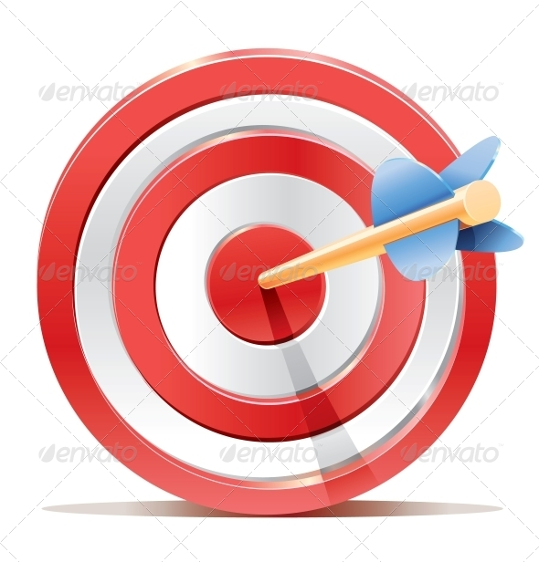Red Dart Target Aim and Arrow - Sports/Activity Conceptual