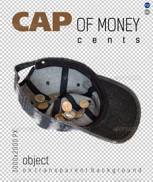 Cap of Money (coins cents) on Transparent Backgrou - Isolated Objects
