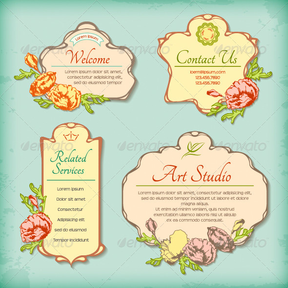 Set of Vintage Antique Styled Labels with Flowers - Borders Decorative