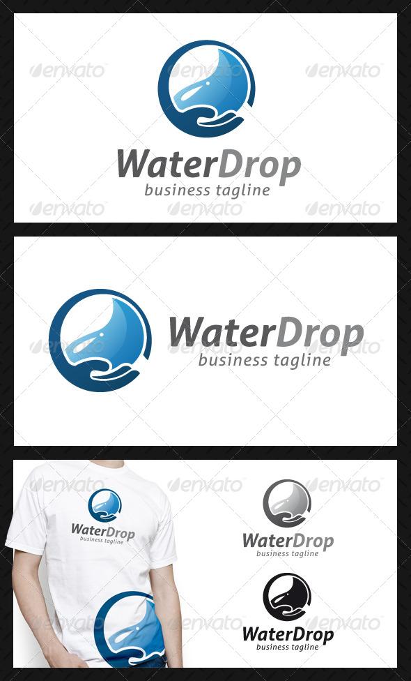 Water Drop Hand Logo Template - Nature Logo Templates