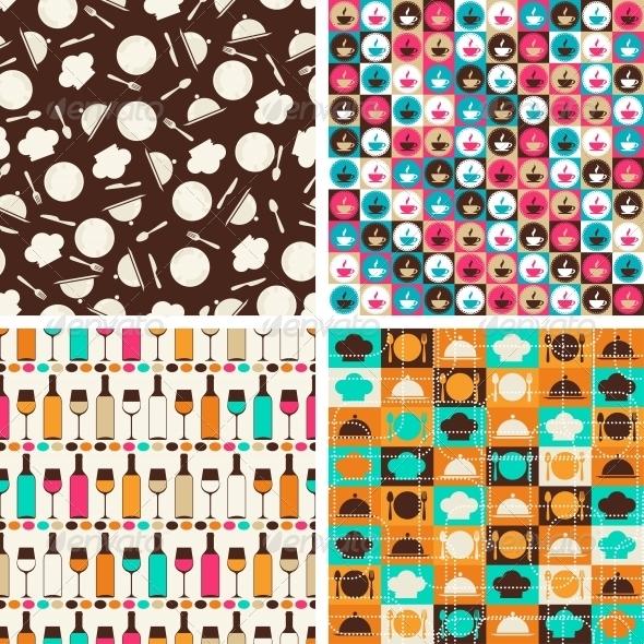 Seamless Retro Kitchen Pattern - Food Objects