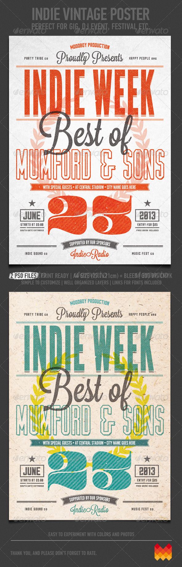 Indie Vintage Flyer/Poster - Flyers Print Templates