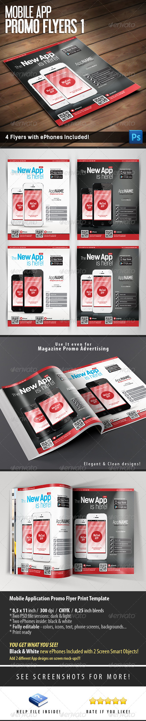 Mobile App Flyers Template - Flyers Print Templates