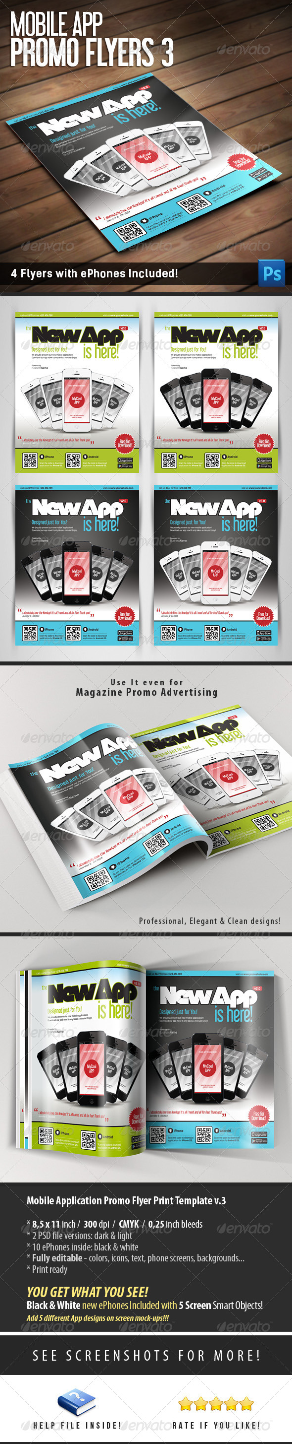Mobile App Flyers Template v.3 - Commerce Flyers
