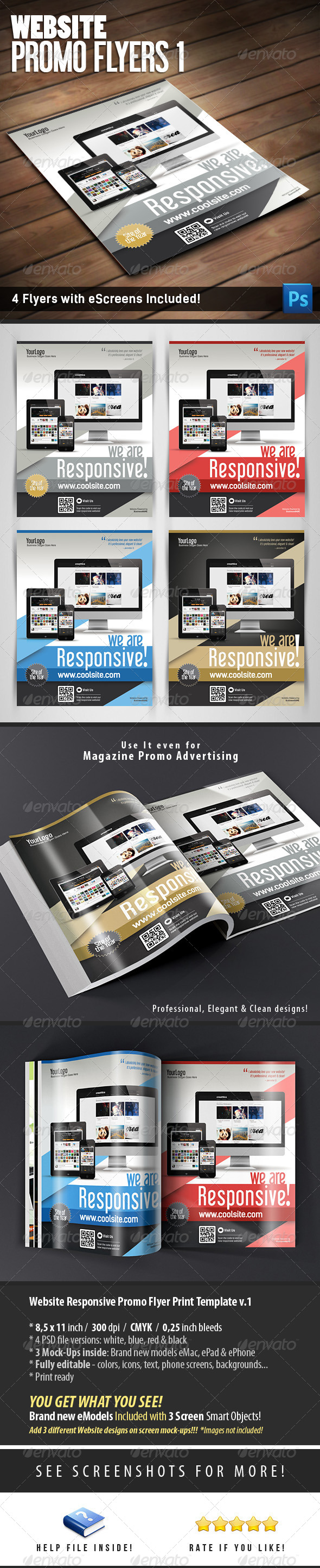 Website Responsive Promo Flyers Template v.1 - Flyers Print Templates