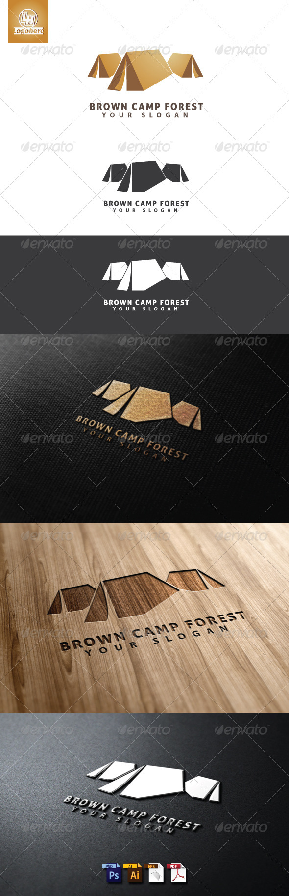 Brown Camp Forest Logo Template - Buildings Logo Templates
