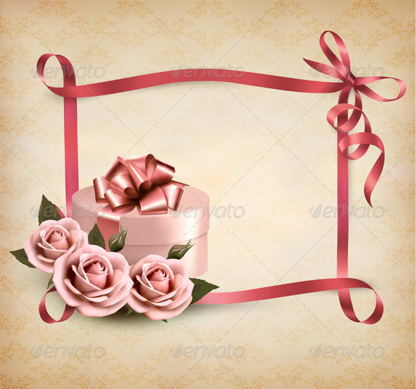Holiday Background with Three Roses and Gift Box - Seasons/Holidays Conceptual