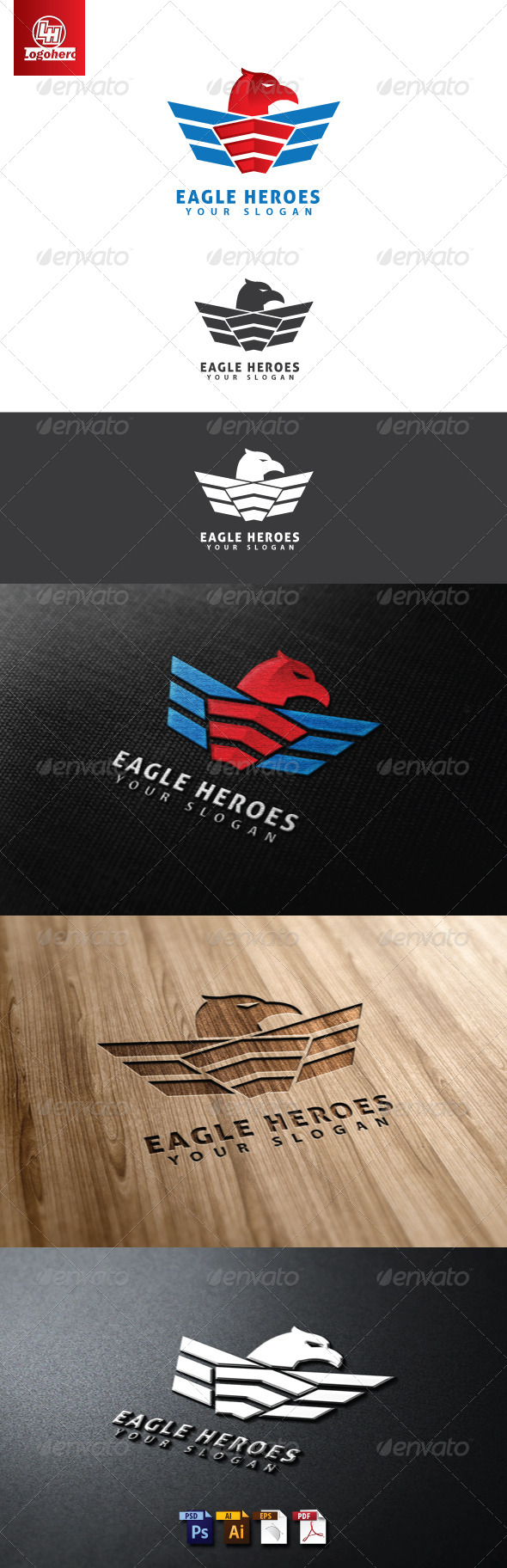 Eagle Heroes Logo Template - Animals Logo Templates