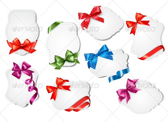 Set of Gift Cards with Colorful Gift Bows - Christmas Seasons/Holidays