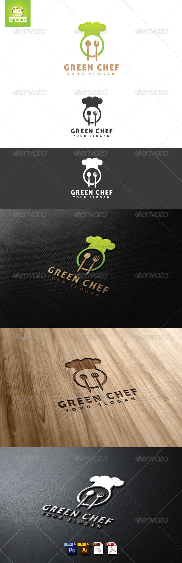 Green Chef Logo Template - Food Logo Templates