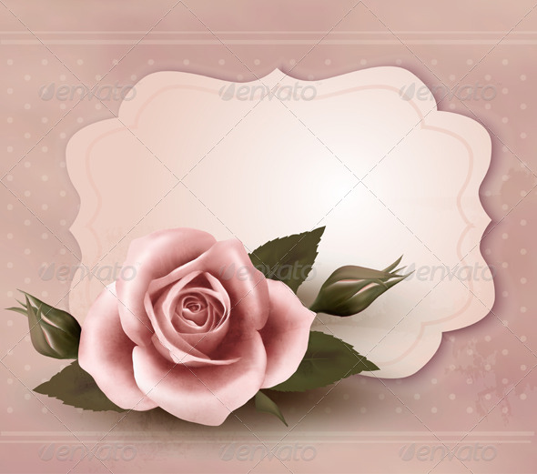 Retro Greeting Card with Pink Rose - Retro Technology
