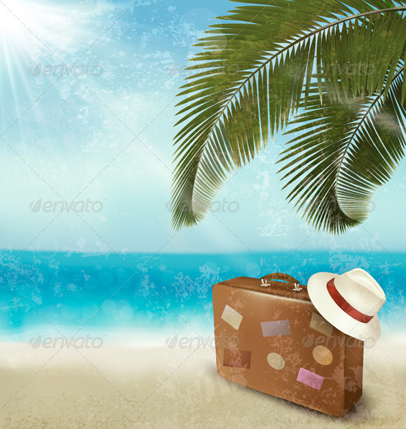 Vintage Seaside Background with Suitcase - Retro Technology