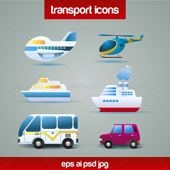 Tranportation Icons - Man-made Objects Objects