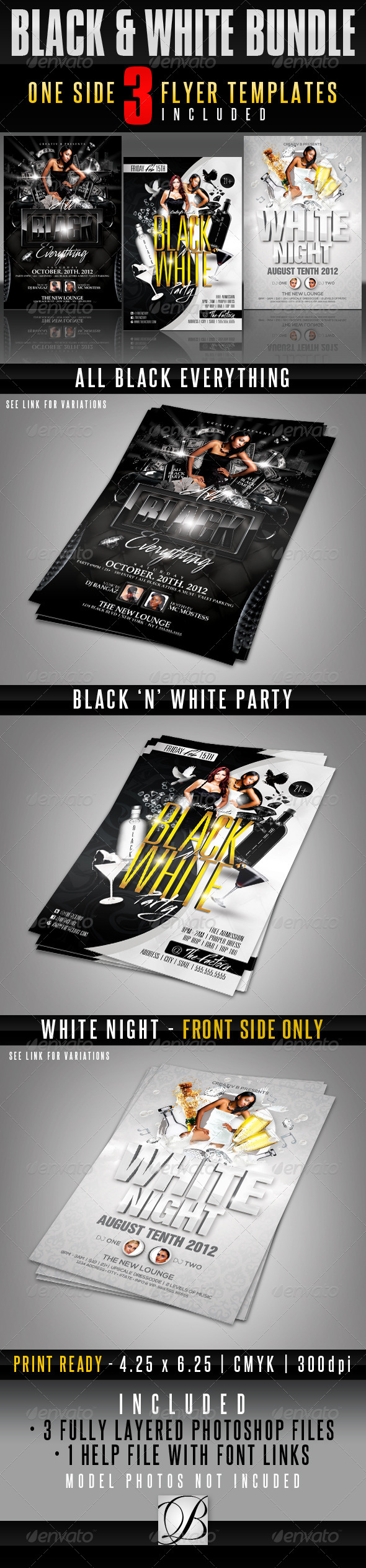 Black and White Party Flyer Bundle - Clubs & Parties Events