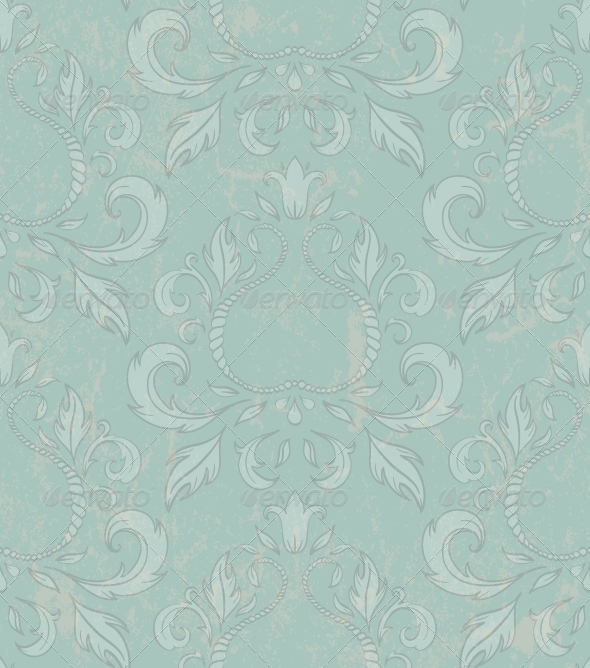 Damask Seamless Wallpaper with Grunge Effect. - Patterns Decorative