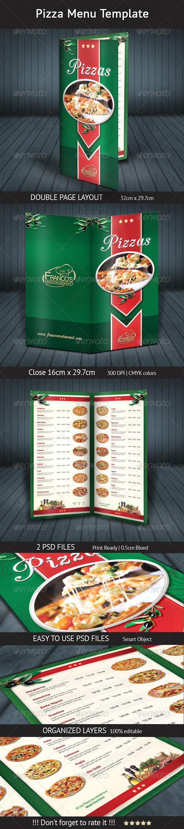 Pizza Menu Template - Food Menus Print Templates