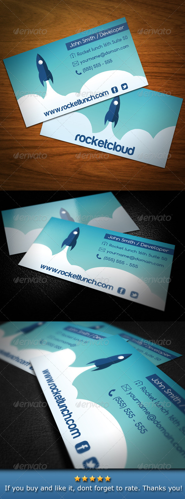Rocket Launch Creative Business Card - Business Cards Print Templates