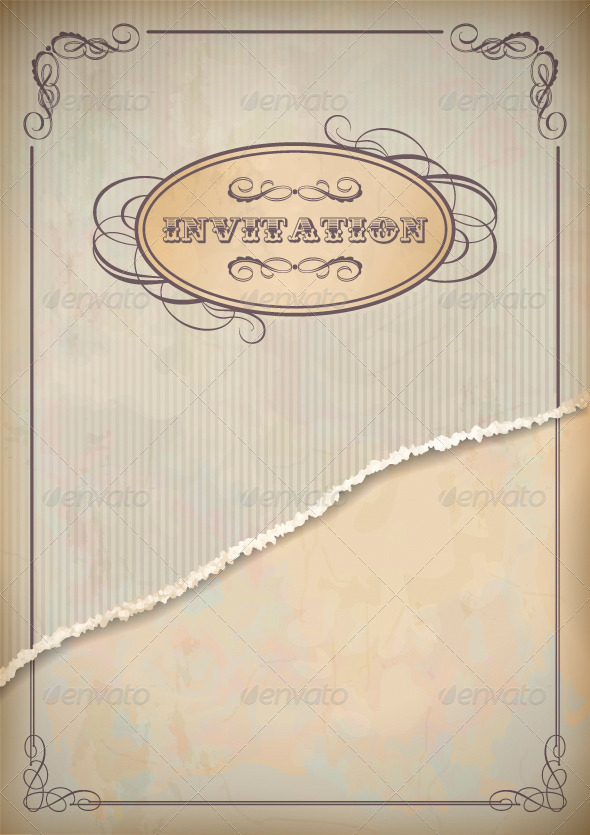 Vintage Grunge Invitation Paper Card with Frame - Borders Decorative