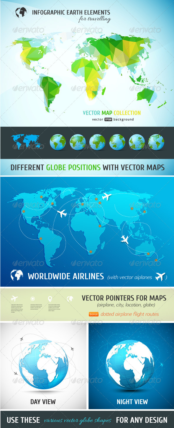 Set of Vector Maps and Realistic Globe Models - Travel Conceptual