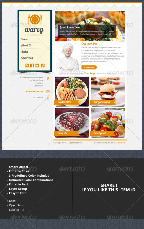 Wareg - PSD Newsletter Layout For Culinary - E-newsletters Web Elements
