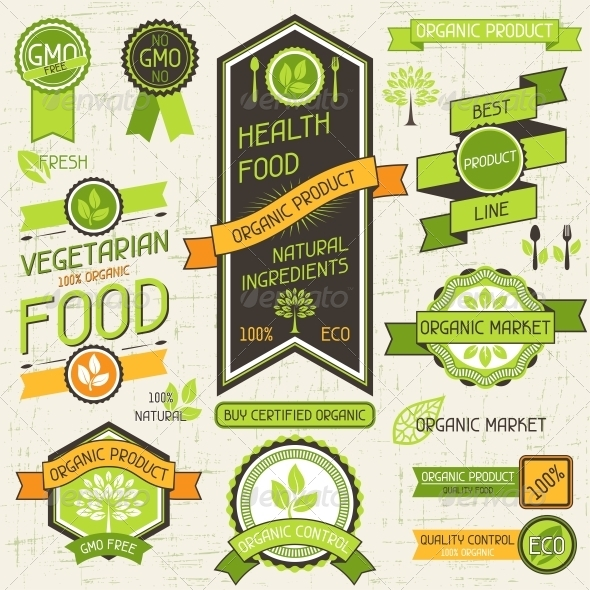 Organic Food Banners. Set of Labels and Stickers. - Health/Medicine Conceptual