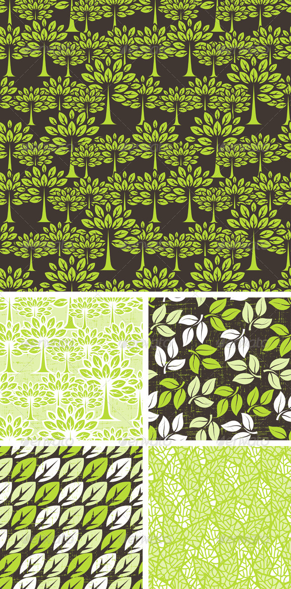 Seamless Pattern with Trees and Leaves. - Flowers & Plants Nature