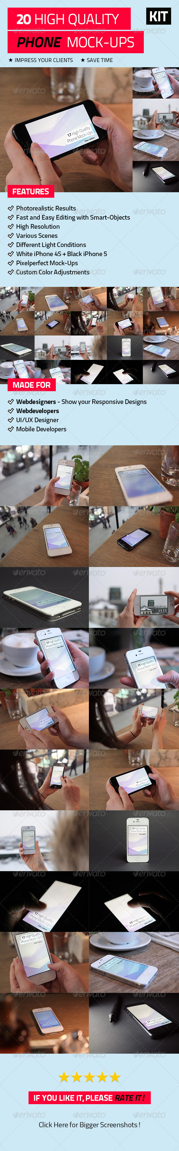 20 High Quality Phone Mock-Ups - Mobile Displays