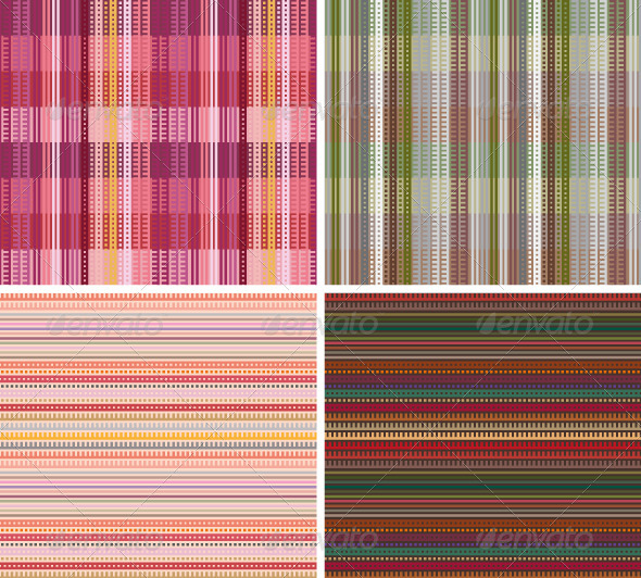 Striped and Plaid Seamless Patterns - Backgrounds Decorative