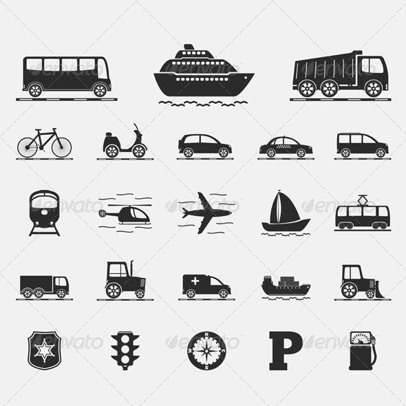 Transport Icons - Web Elements Vectors