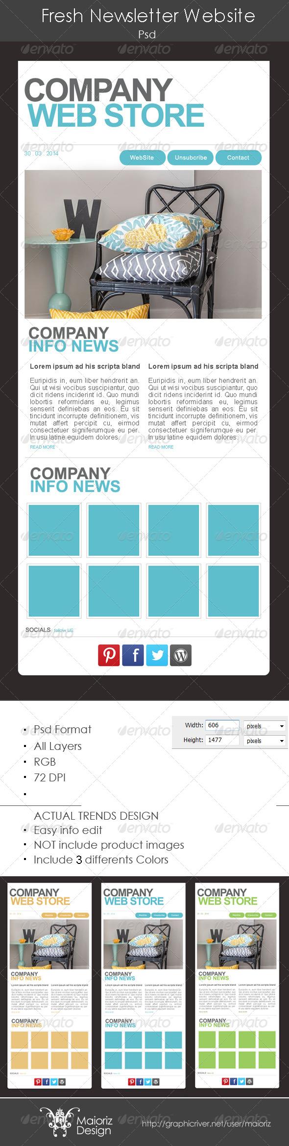 Fresh Website Newsletter - E-newsletters Web Elements