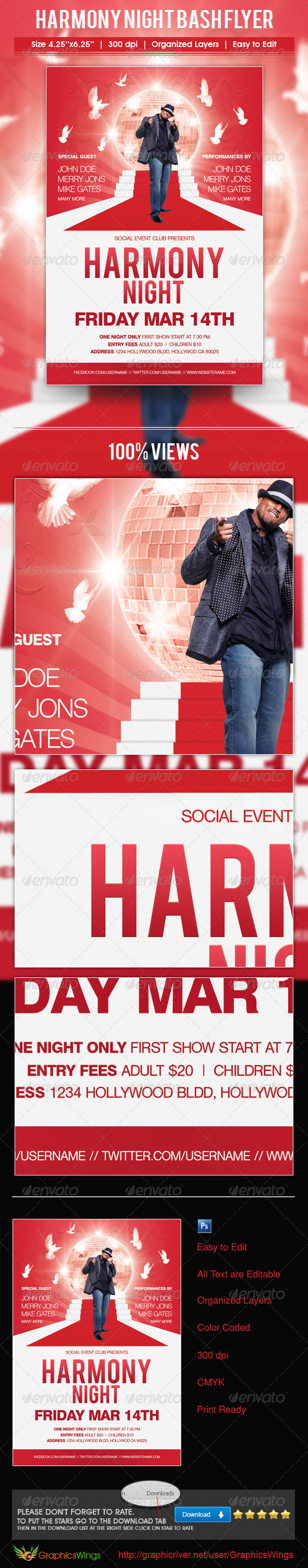 Harmony Night Bash Flyer Template - Concerts Events