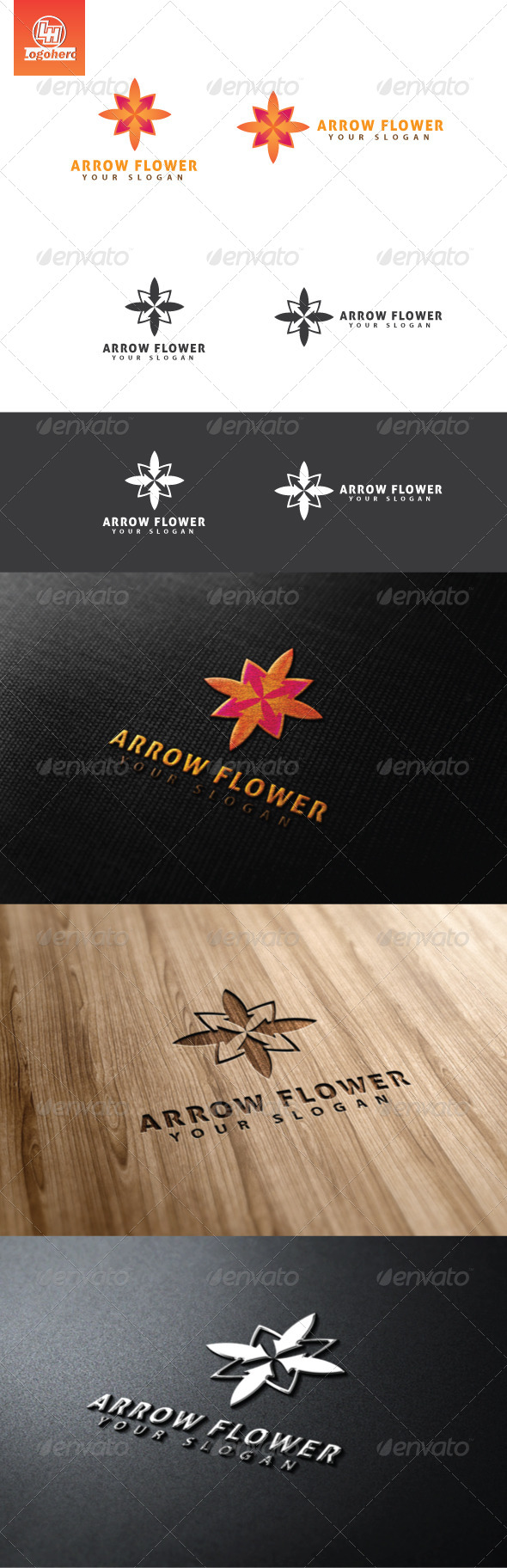 Arrow Flower Logo Template - Nature Logo Templates