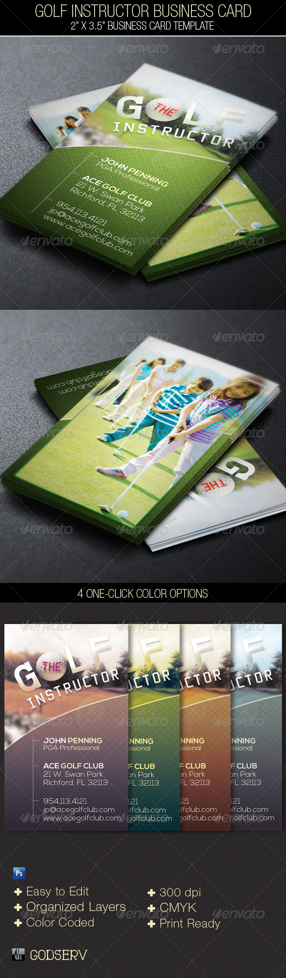Golf Instructor Business Card Template - Industry Specific Business Cards