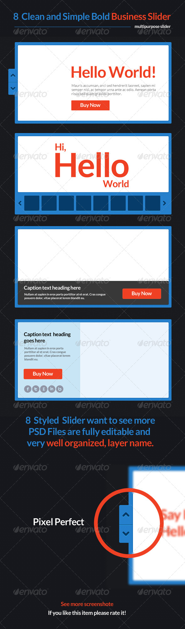8 Clean and Simple Bold Business Slider  - Sliders & Features Web Elements