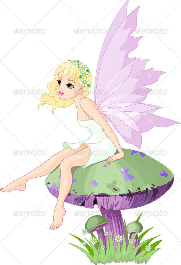 Fairy on Mushroom  - People Characters