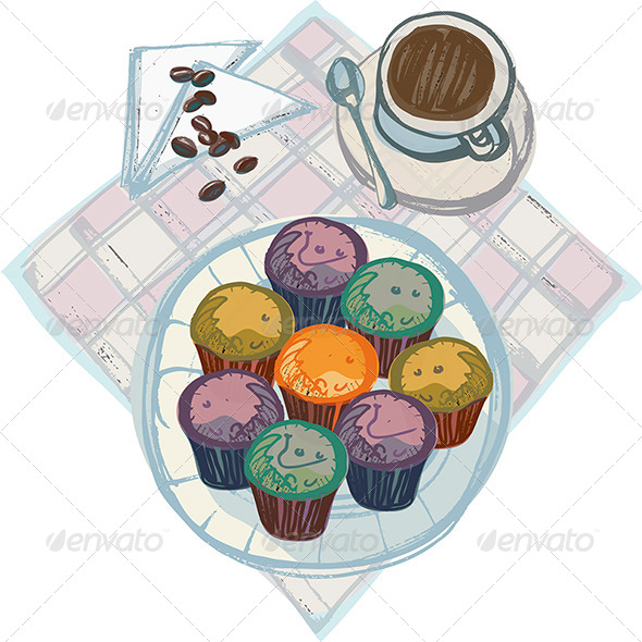 Coffee with Plate of Cupcakes - Food Objects