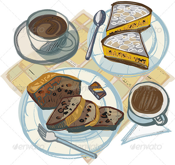 Two Coffees with Cakes and Chocolates - Food Objects