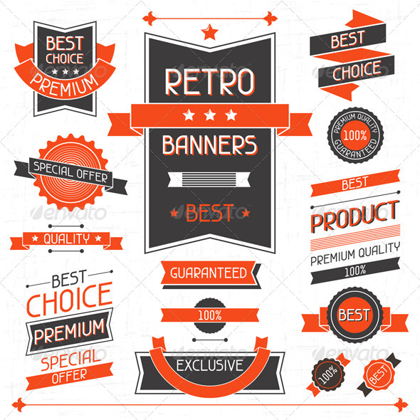 Retro Banners. Set of Labels and Stickers. - Retail Commercial / Shopping
