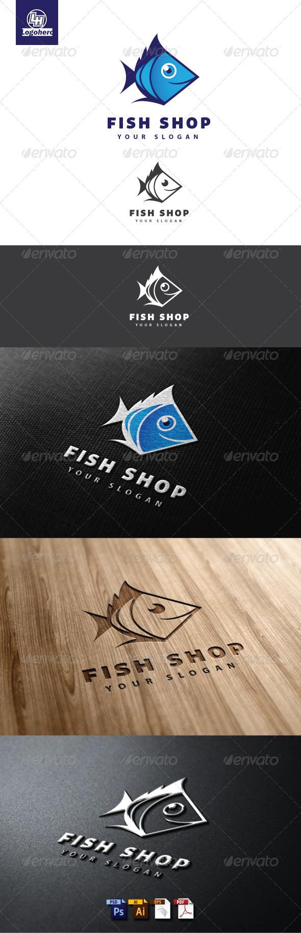 Fish Shop Logo Template - Animals Logo Templates