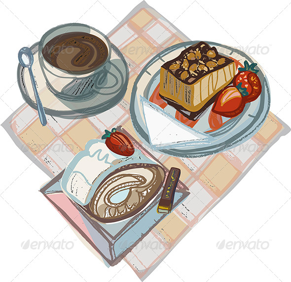 Coffee with Strawberry Cake, Swiss Gateau and Choc - Food Objects