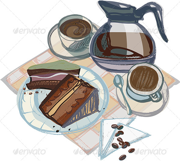 Cups of Coffee with Cakes and Coffee Pot - Food Objects