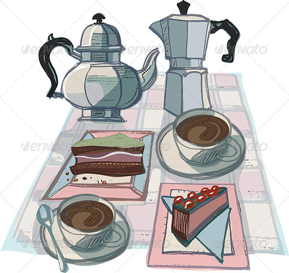 Coffee Pots, Cups of Coffee and Cakes - Food Objects